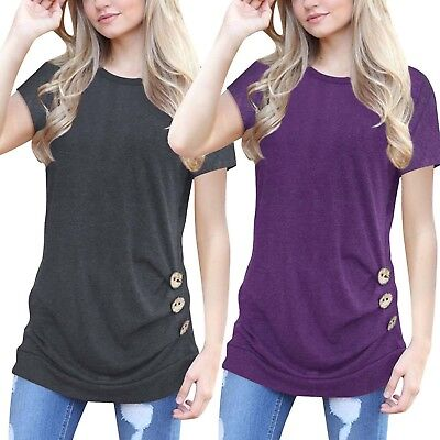 Women Ladies Short Sleeve Loose Trim Casual Blouse Tunic T-Shirt Tops Plus Size
