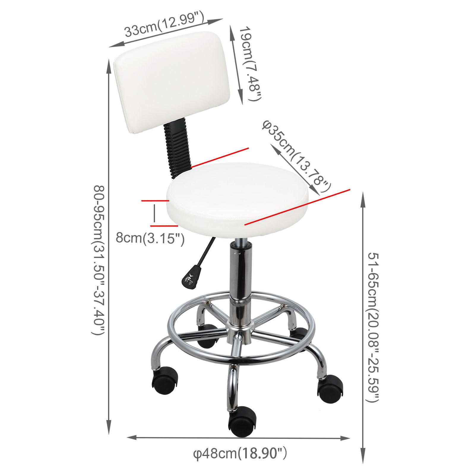 Rollhocker Arbeitshocker Drehstuhl Praxishocker Kosmetikhocker Arbeitsstuhl weiße,runde mit Rückenlehne
