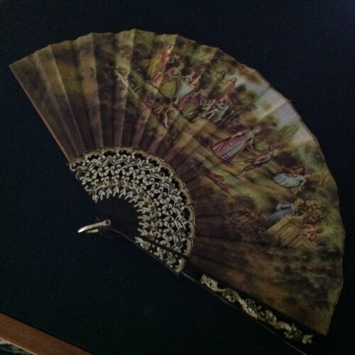 VINTAGE FINE FRENCH HAND PAINTED FIGURAL SCENE SIGNED HAND FAN