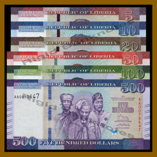 Liberia 5 10 20 50 100 500 Dollars (6 Pcs Set), 2016 P-31/32/33/34/35/36 New Unc