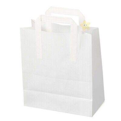 2000 MEDIUM WHITE KRAFT SOS TAKEAWAY PAPER CARRIER BAGS
