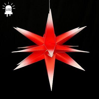 LED Adventsstern Faltstern Ø60 Außenstern Weihnachtsstern 18zack Rot/Weiß 100229