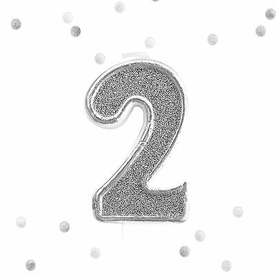 Silver Glitter 2nd Birthday Candle Number 2 Silver White Two Number Cake Topper - Number 2 Candle
