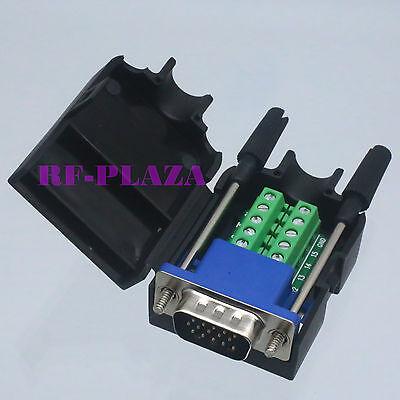 Connector DB15 VGA male D-Sub 3+6 line Plastic Cover screw Terminal PCB (Vga Male Db15 Connector)