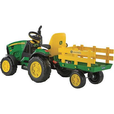 Peg Perego John Deere Ground Force 12V Tractor w/ Trailer Kids Ride-On Children