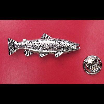 English Pewter Brown Trout Fish Pin Badge Tie Pin / Lapel Badge