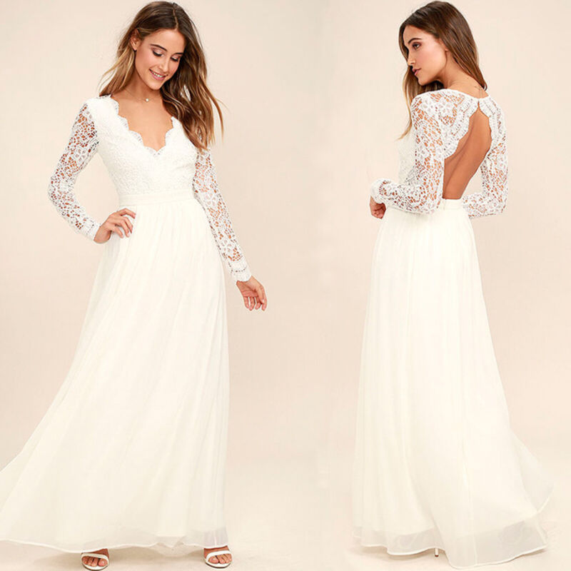 Damen Spitze Brautkleid Hochzeit Abendkleid Ballkleid Rückenfrei Lang Maxikleid