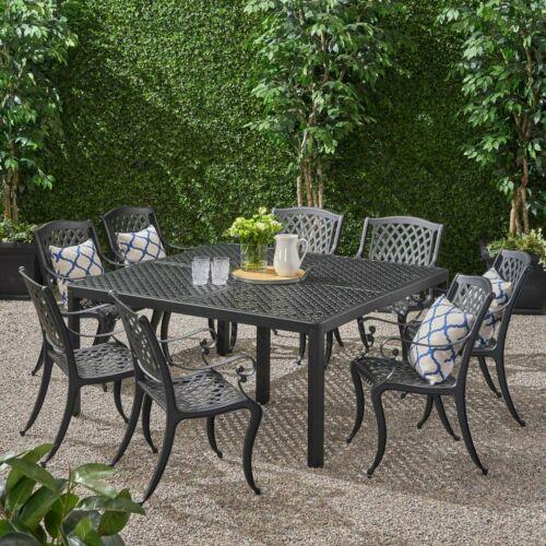 Freda Outdoor Aluminum 8 Seater Dining Set Home & Garden