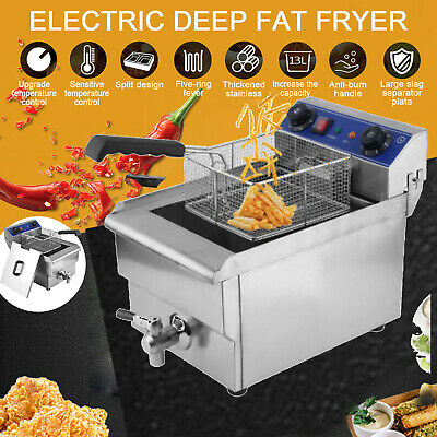 13l 1650w Commercial Electric Deep Fryer Fat Chip Single Tank Home Kitchen Use