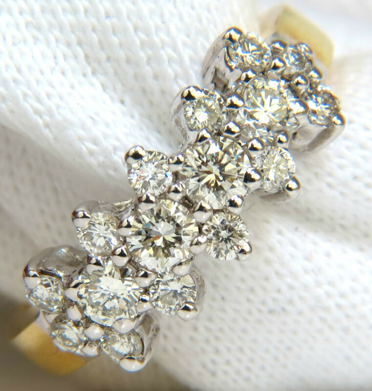█$4500 18kt 1.00ct Diamonds Cluster Band Ring Excellent Cuts█
