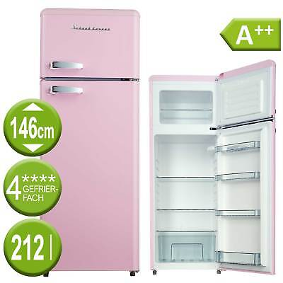 Kühl Gefrierkombination A++ Kühlschrank freistehend Retro pink Schaub Lorenz