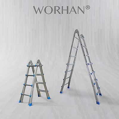 WORHAN® Escalera 414cm Telescopica de 4.14m Multiuso Alu Plegable Tijera L4
