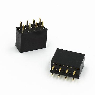 10pcs 2.54mm 2x4 8pin Double Row Female Straight Header Pitch Socket Pin Strip
