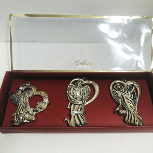 Set 3 Gorham Silverplated Angel Hanging Ornaments Peace Love Hope