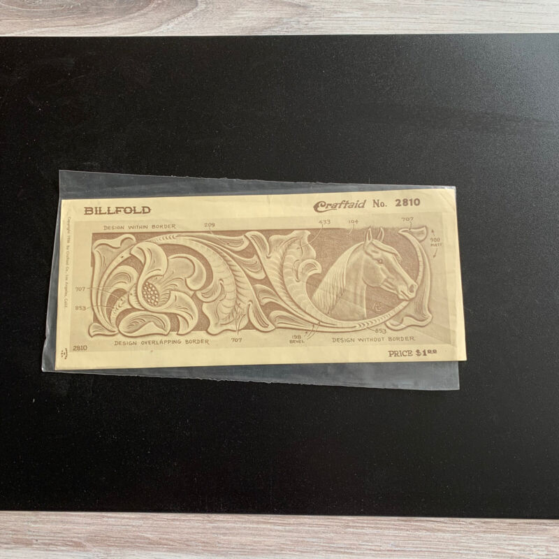 Vintage CRAFTAID Leather Crafting Billfold Template #2810 HORSE HEAD