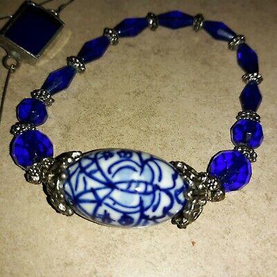 Vtg. Blue & White Porcelain & Faceted Glass Bead Bracelet with matching earrings
