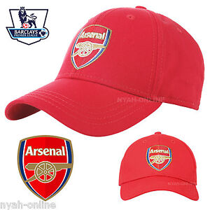 NEW ARSENAL FC BASEBALL CAP OFFICIAL RED PLAIN SNAPBACK FITTED PEAK HAT