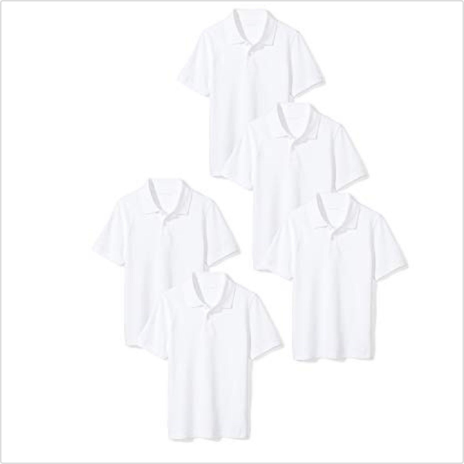 Amazon Essentials Boy 5-Pack Short-Sleeve School Uniform 3 B