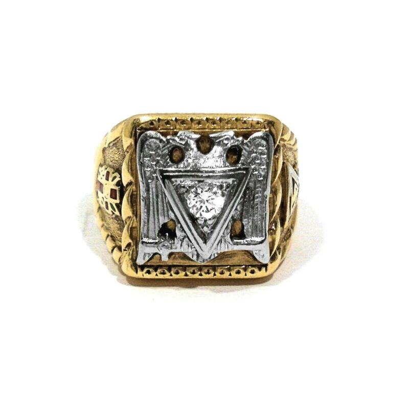 RINGMASTER SOLID 10K YELLOW & WHITE GOLD DIAMOND MASONIC RING ~ SIZE 10 1/2