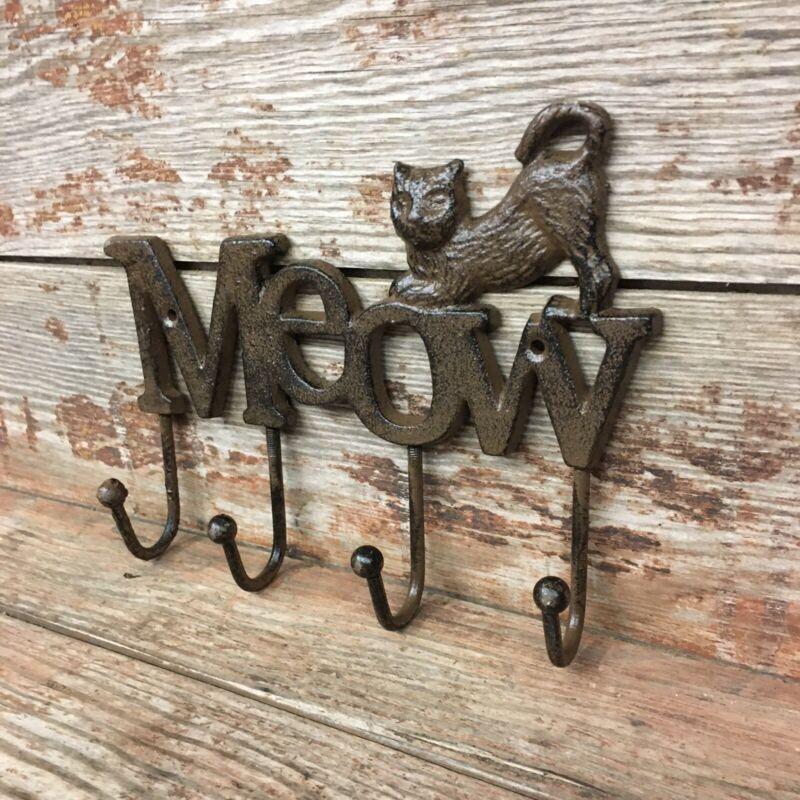 Cast Iron Cat Wall Hanger 4 Hook Coat Towel Feline MEOW Cute Kitten Kitty