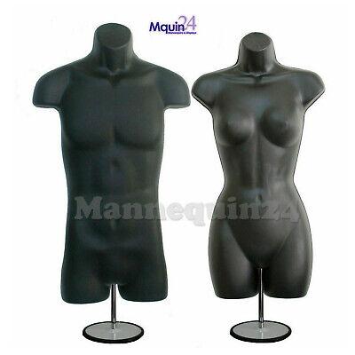 Male Female Mannequin Torso Set -2 Black Dress Forms 2 Stands 2 Hangers