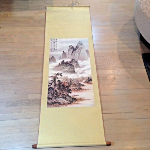 "Mountains by Huang Chun-Pi Hanging Scroll Print Museum Taiwan 64x21"" #1"