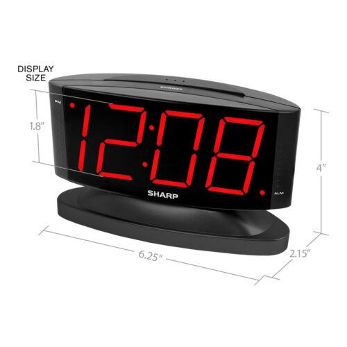 Sharp LED Digital Alarm Clock, Swivel Base, Black Case, Red Display, SPC033A