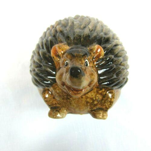 Vintage Glazed Brown Pottery Hedgehog Figure 6 inch Footed Animal Art Pottery