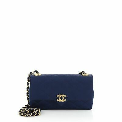 Chanel Vintage Crystal CC Flap Bag Quilted Satin Medium