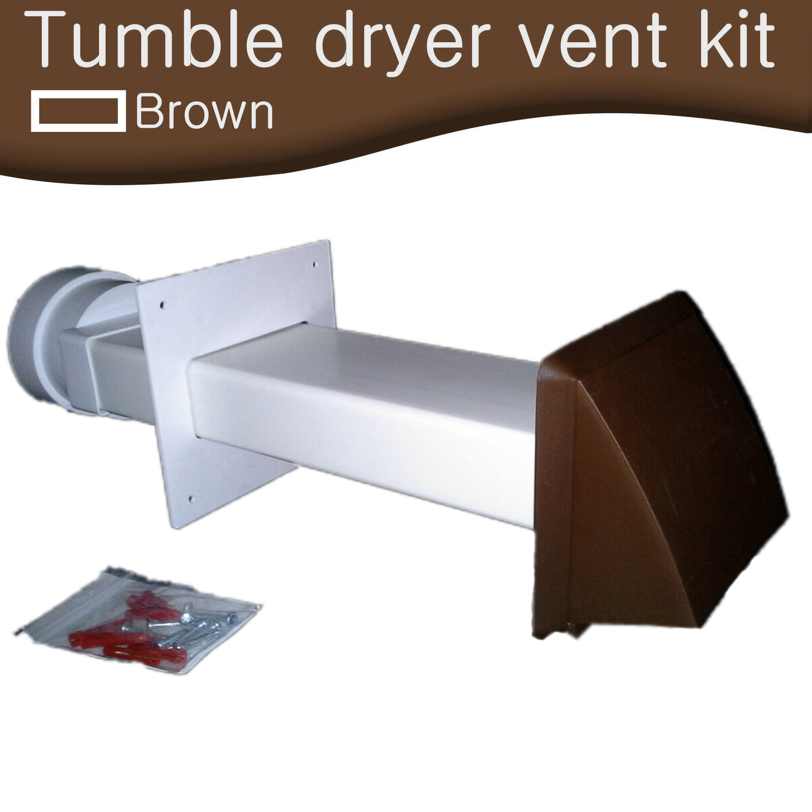 Tumble Dryer Exhaust Pipe ~ Tumble dryer wall vent kit external brown cowl vented core