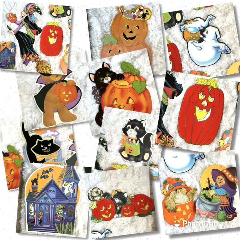 Halloween Eureka Vintage Flocked and Non Flocked Cut Outs Lot of 12