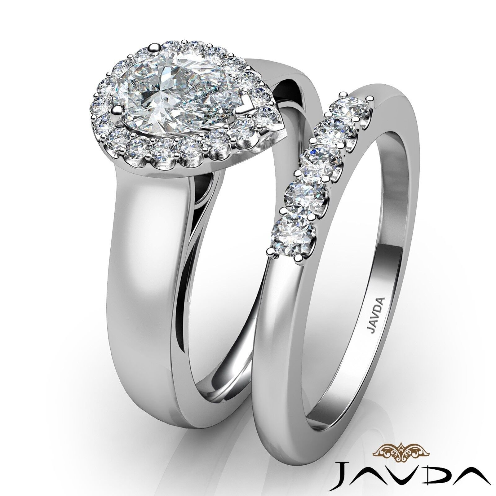 1.33ctw U Cut Pave Set Halo Bridal Pear Diamond Engagement Ring GIA F-VS2 W Gold 3