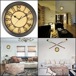 12 Retro Round Wall Clock Home Office Decor Large Number Silent Watch Quartz