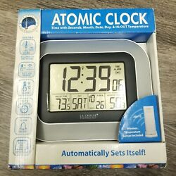 Atomic Digital Wall Clock Wireless Temperature Monitor Indoor Outdoor Clocks New