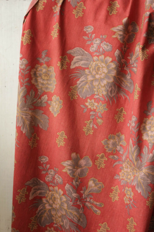 Curtain Red Ground w/ gray floral pattern Antique French drape cotton Napoleon 3