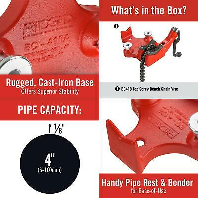 18 In. To 4 In. Bc410p Top-screw Bench Chain Vise Ridgid Model Pipe Base Cast