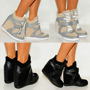 FASHION-VELCRO-STRAP-HIGH-HI-TOP-SNEAKERS-LADIES-RETRO-WEDGE-TRAINERS-SHOES-3-8