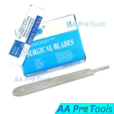 100 Sterile Scalpel Blades 15 1 Free Scalpel Knife Medical Handle 3