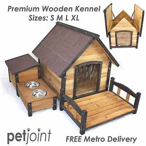 Wooden Kennel Pet Puppy Dog House Log Timber Home Indoor Outdoor Campbellfield Hume Area Preview