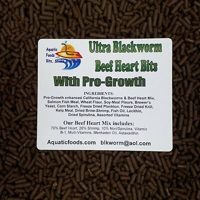 - PRO-GROWTH Enhanced Blackworm/Beef Heart Mix Bits for Discus, Cichlids ALL Fish