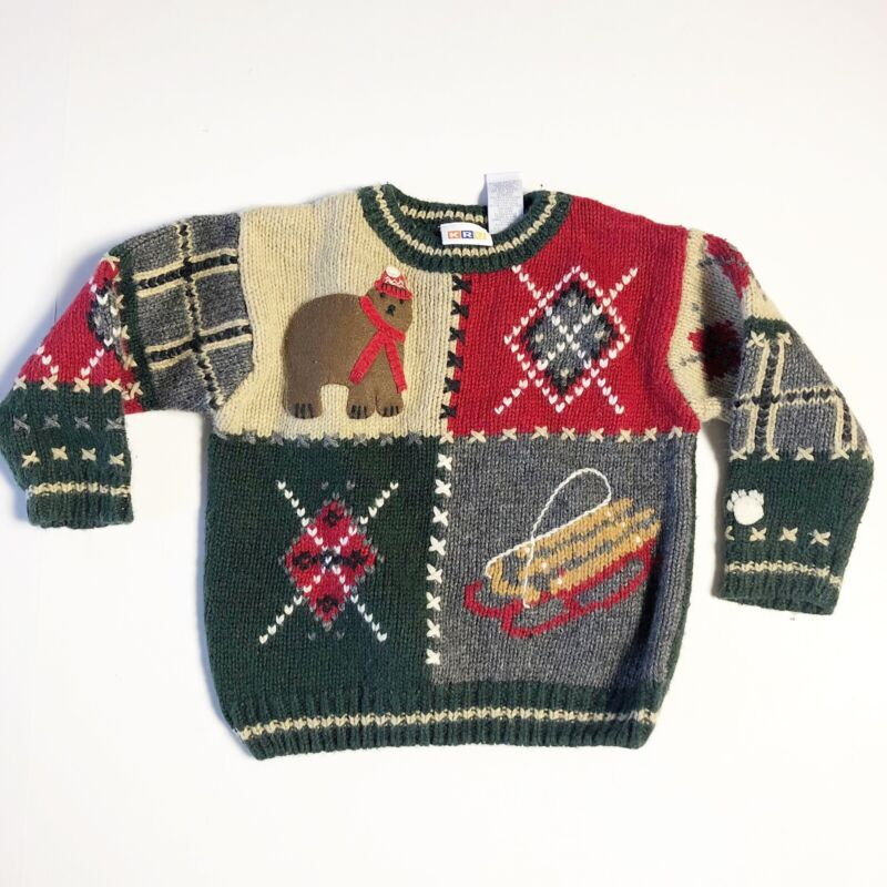 Little Boys Sweater Toddler Size 3T Wool Blend Winter Bear Sled Cute KRU