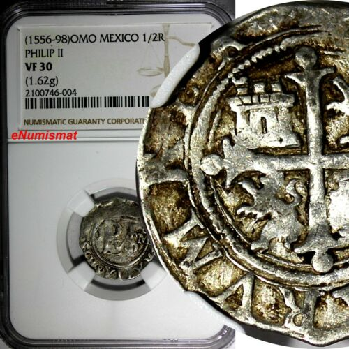 MEXICO Philip II Silver (1556-98) OMO 1/2 Real NGC VF30 TOP GRADED BY NGC SCARCE