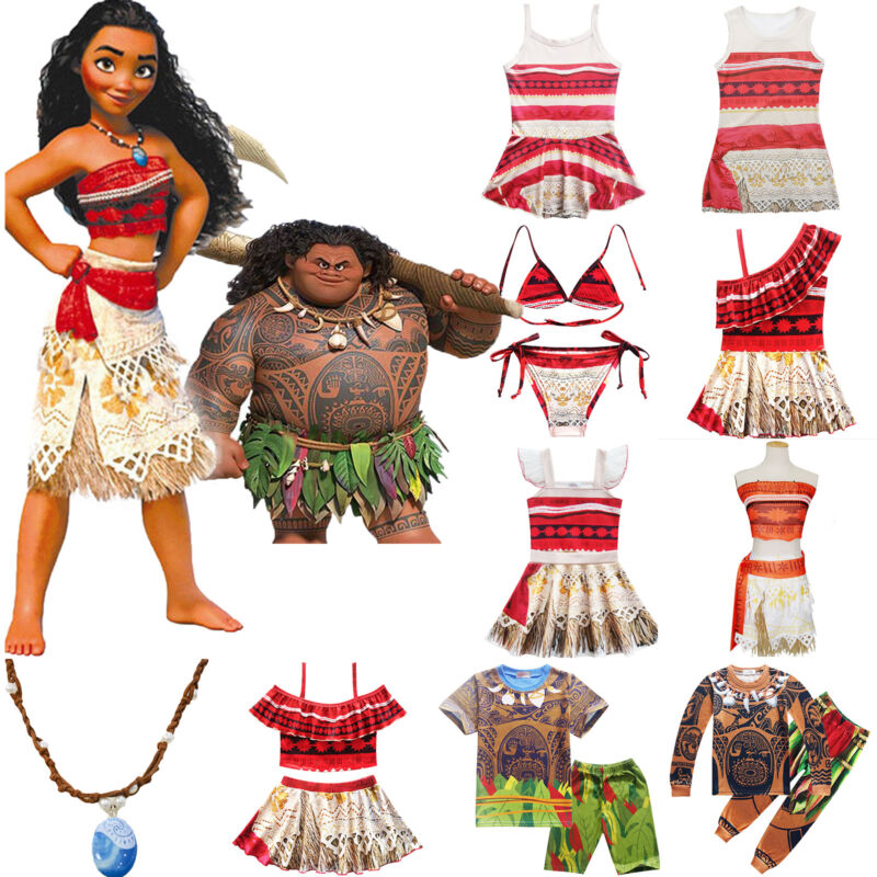 Vaiana Moana Maui Karneval Kostüm Kinder Mädchen Kleid Jungen Nachtwäsche Outfit