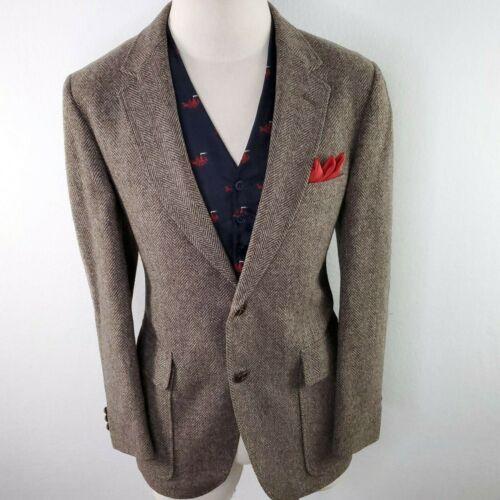 Harris Tweed Suit Blazer Jacket Coat Men 40R Herringbone Downton Brown Vintage