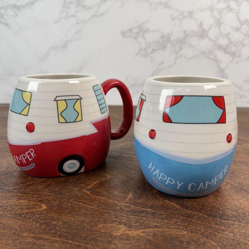 SM2 2 Happy Camper Ceramic  Cup Mug Set Red Blue Campers Bass Pro Shop Trailers
