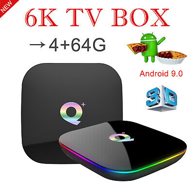 6K 3D 4+64GB Q plus Android 9.0 Quad Core Smart TV Box WIFI BT USB HDMI H.265 DE
