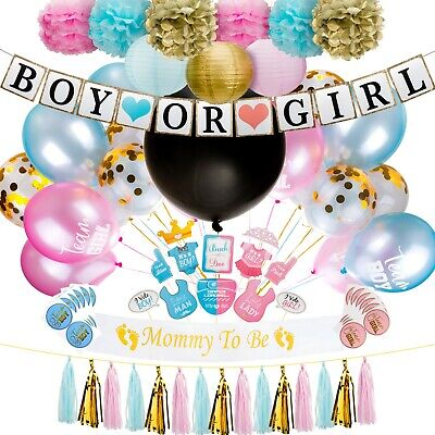 Gender Reveal Party Supplies (109 Pieces) Balloons, Lanterns, Pom Poms and More! - Gender Reveal Party Balloons