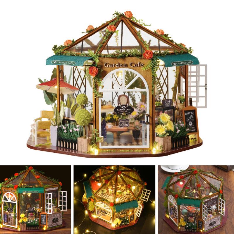 DIY Wooden House Miniature Dollhouse Kit Coffee Shop Dollhouses Xmas Gifts