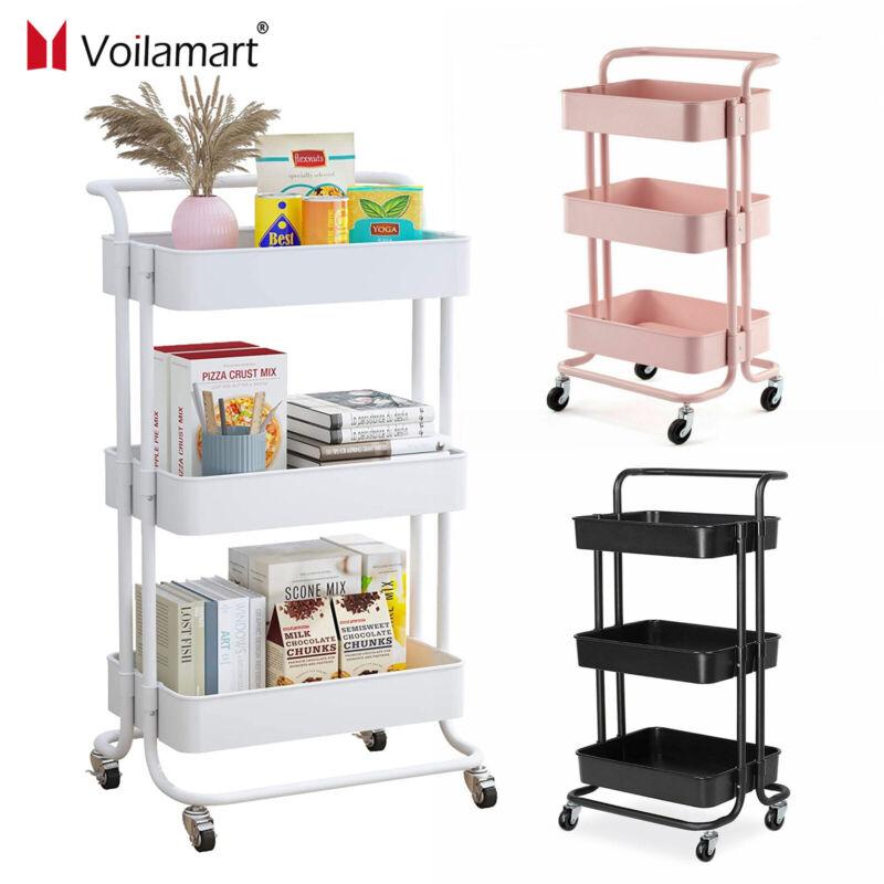 3-Tier Rolling Utility Kitchen Carts Storage Organizers Bathroom Salon Trolley