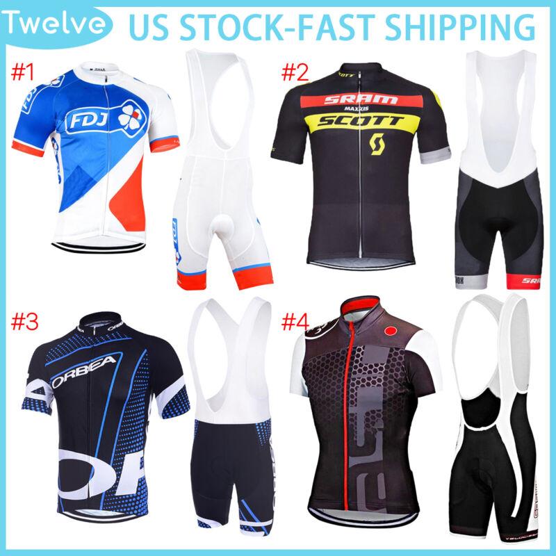 Mens Cycling Clothing Set Jersey Short Bib Shorts Set Zip Pockets 2021 Suit New